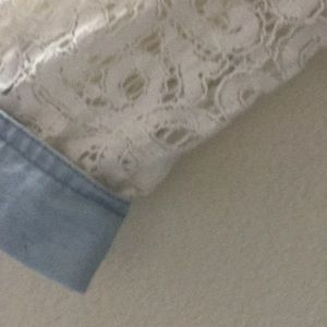 Cato Tops - Denim and lace long sleeve button up
